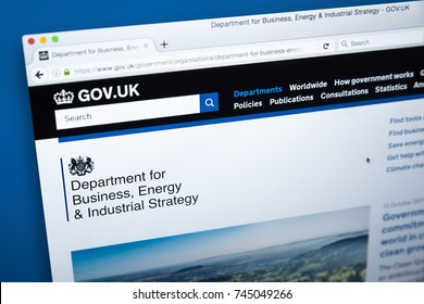 LONDON, UK - OCTOBER 30TH 2017: The homepage of the Department for Business, Energy and Industrial Strategy on the UK Government website, on 30th October 2017.
