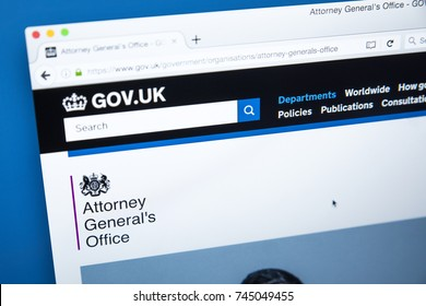 LONDON, UK - OCTOBER 30TH 2017: The homepage of the Attorney Generals Office on the UK Government website, on 30th October 2017.