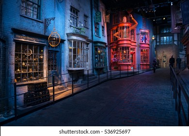 London, UK - October 31, 2017: Diagon Alley film set at the Warner Studio, The making of Harry Potter