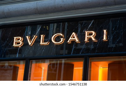 London, UK, October 31, 2019: Close up of Bulgari (jewellery company) BVLGARI