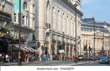 LONDON, UK - OCTOBER 4, 2016:  Piccadilly street view with transport and walking people
