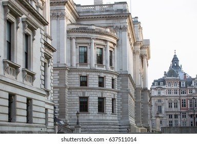 London, UK - October 4, 2016:  Her Majesty's Treasury building