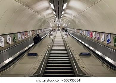 London, UK - October 5, 2016, Descending passage in London underground