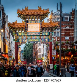 LONDON, UK - OCTOBER 5, 2018: The historic architecture of London in the UK at sunset showcasing its China Town by Leicester Street.