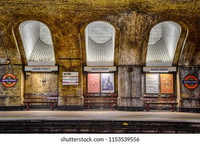 London, UK, October 6 2016 Platform of Baker Street underground station