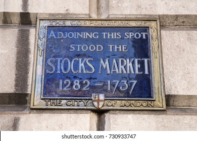 LONDON, UK - OCTOBER 6TH 2017: A blue plaque, marking the locaton where the Stocks Market once stood, on Mansion House in the City of London, on 6th October 2017.