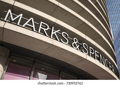 LONDON, UK - OCTOBER 6TH 2017: The Marks and Spencer logo on the exterior of one of their stores in the City of London, on 6th October 2017.