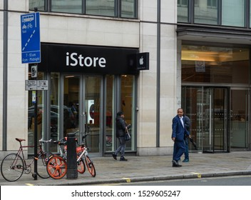 London, UK, October 7, 2019: View from outside of iStore shop. The iStore is a major chain of retail stores owned by Apple Inc., selling computers and consumer electronics.