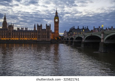 LONDON, UK - OCTOBER 8TH 2015: A view across the River Thames of the Houses of Parliament and Westminster Bridge in London, on 8th October 2015.