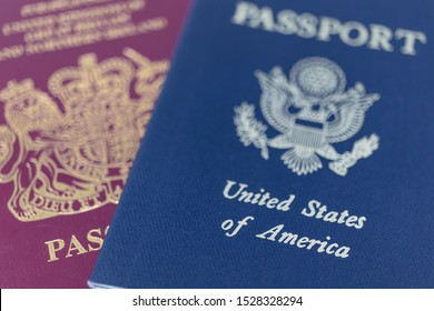 London / UK - October 9th 2019 - UK and US passports, extreme closeup macro with a shallow depth of field
