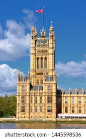 London UK - Palace of Westminster (Houses of Parliament) with Victoria tower. UNESCO World Heritage Site.