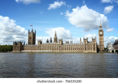 London, UK - Palace of Westminster and river Thames.
