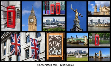 London UK panoramic postcard - travel place landmark photo collage.