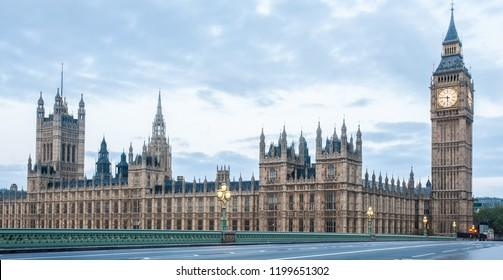 London, UK - Panoramic view of the Houses of Parliament, Palace of Westminster and Westminster Bridge. No people, nobody. Early morning.