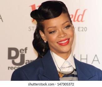 London. UK.   Rihanna switching on the Westfield Stratford City Christmas Lights, Stratford, London. 19th November  2012.