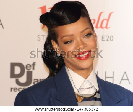 London. UK.   Rihanna switching on the Westfield Stratford City Christmas Lights, Stratford, London. 19th November  2012.