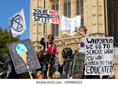 London, U.K. - Sept 20, 2019: Protestors in Westminster as part of the Youth Strike 4 Climate worldwide demonstration.