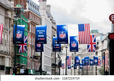 London, UK - Sept 22, 2018: NFL banners with USA flags and Union jack on Regent's Street in Central London. NFL will play one game at Wembley