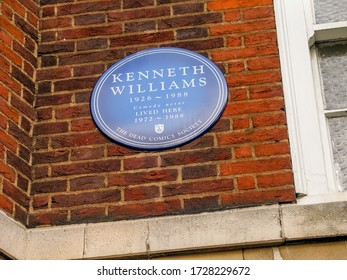 LONDON, UK - SEPT 6, 2004: Dead Comics Society blue plaque devoted to famous british comedian Kenneth Williams on bricks wall of his house on Sept 6, 2004 in London, UK.