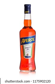 LONDON, UK - SEPTEMBER 03, 2018: Bottle of Aperol Aperitivo summer cocktail drink on white background.