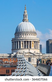 LONDON, UK - SEPTEMBER 10, 2015: St. Paul's cathedral and millennium bridge