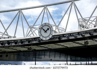 London / UK - September 10,2015 : The Arsenal Clock on the Clock End stand in Emirates Stadium.