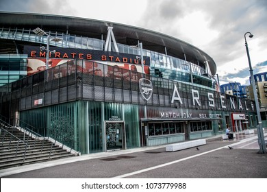 London / UK - September 10,2015 : In front of the Emirates Stadium in London, UK showing the Arsenal armoury or Arsenal shop and ticket selling box.