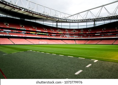 London / UK - September 10,2015 : the photo of Emirates stadium taking on a technical area showing the pitch and the stand of the stadium.