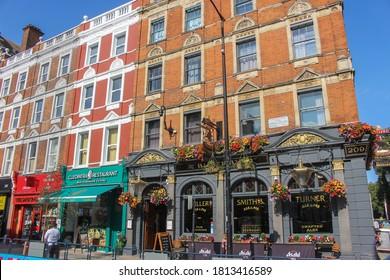 London / UK - September 11 2020: The Blackbird pub, Fuller's Brewery, Earl's Court, West London