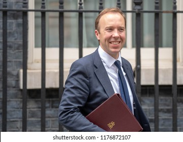 LONDON UK SEPTEMBER 11TH 2018, Matt Hancock Health Secretary, leaves Cabinet meeting at 10 Downing Street, London Credit Ian Davidson/Alamy Live News