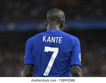 LONDON, UK - SEPTEMBER 12, 2017: N'Golo Kante pictured during the UEFA Champions League Group C game between Chelsea FC and Qarabag FK at Stamford Bridge.