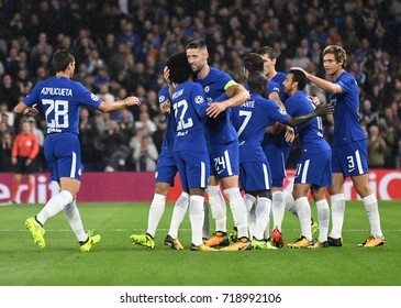 LONDON, UK - SEPTEMBER 12, 2017: Chelsea players celebrate after a goal during the UEFA Champions League Group C game between Chelsea FC and Qarabag FK at Stamford Bridge.