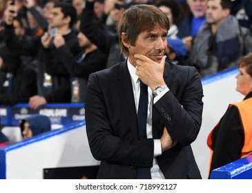 LONDON, UK - SEPTEMBER 12, 2017: Antonio Conte pictured prior to the UEFA Champions League Group C game between Chelsea FC and Qarabag FK at Stamford Bridge.