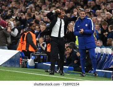 LONDON, UK - SEPTEMBER 12, 2017: Antonio Conte pictured during the UEFA Champions League Group C game between Chelsea FC and Qarabag FK at Stamford Bridge.