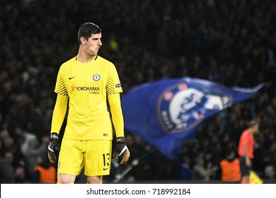 LONDON, UK - SEPTEMBER 12, 2017: Thibaut Courtois pictured during the UEFA Champions League Group C game between Chelsea FC and Qarabag FK at Stamford Bridge.