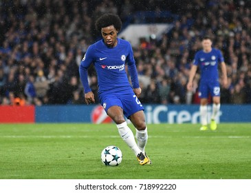 LONDON, UK - SEPTEMBER 12, 2017: Willian Borges da Silva pictured during the UEFA Champions League Group C game between Chelsea FC and Qarabag FK at Stamford Bridge.
