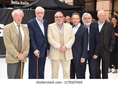 """LONDON, UK. September 12, 2018: Charlie Cox, Sir Michael Gambon, Sir Michael Caine, Ray Winstone, Paul Whitehouse, Sir Tom Courtenay & Jim Broadbent at the World Premiere of """"King of Thieves"""""""