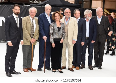 "LONDON, UK. September 12, 2018: Charlie Cox, Sir Michael Gambon, Sir Michael Caine, Francesca Annis, Ray Winstone,  Sir Tom Courtenay & Jim Broadbent at the World Premiere of ""King of Thieves"""