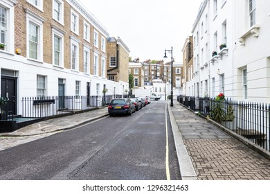 London, UK - September 12, 2018: View of neighborhood district of Pimlico empty street alley with historic architecture and nobody