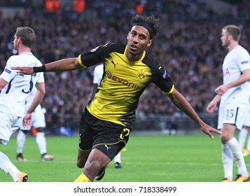 LONDON, UK - SEPTEMBER 13, 2017: Pierre-Emerick Aubameyang pictured during the UEFA Champions League Group H game between Tottenham Hotspur and Borussia Dortmund at Wembley Stadium.