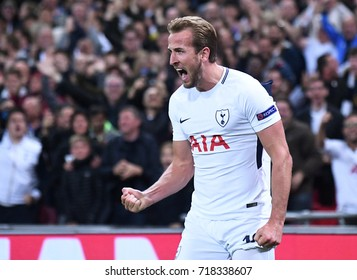 LONDON, UK - SEPTEMBER 13, 2017: Harry Kane pictured during the UEFA Champions League Group H game between Tottenham Hotspur and Borussia Dortmund at Wembley Stadium.