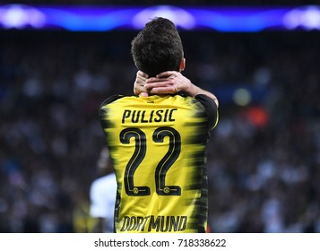 LONDON, UK - SEPTEMBER 13, 2017: Christian Pulisic pictured during the UEFA Champions League Group H game between Tottenham Hotspur and Borussia Dortmund at Wembley Stadium.