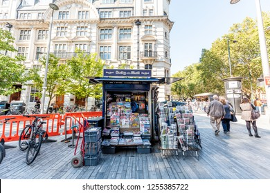 London, UK - September 13, 2018: Neighborhood district of Chelsea, street, old vintage historic traditional sidewalk square with dailymail daily mail newsstand newspaper magazine stand news