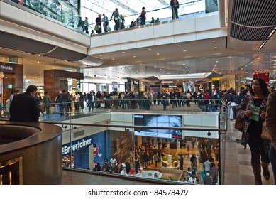 LONDON, UK- SEPTEMBER 13: Crowds of shoppers on the opening day of Westfield Stratford City, the largest urban shopping centre in Europe, and gateway to the Olympic Park. September 13, 2011 London UK