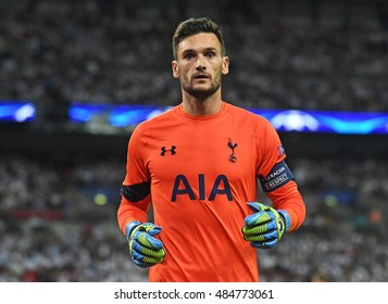 LONDON, UK - SEPTEMBER 14, 2016: Tottenham goalkeeper Hugo Lloris pictured during the UEFA Champions League Group E game between Tottenham Hotspur and AS Monaco on Wembley Stadium.