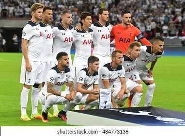 LONDON, UK - SEPTEMBER 14, 2016: Tottenham's line up pictured prior to the UEFA Champions League Group E game between Tottenham Hotspur and AS Monaco on Wembley Stadium.