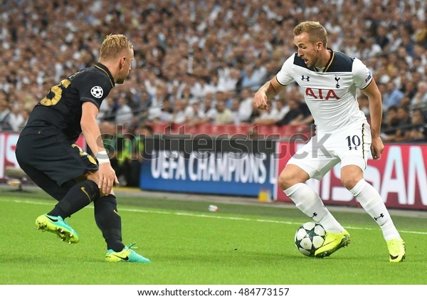LONDON, UK - SEPTEMBER 14, 2016: Harry Kane of Tottenham pictured during the UEFA Champions League Group E game between Tottenham Hotspur and AS Monaco on Wembley Stadium.