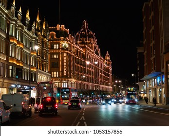 LONDON, UK - SEPTEMBER 14, 2017: View of the Harrods Department Store on Brompton Road in Knightsbridge, London at night.