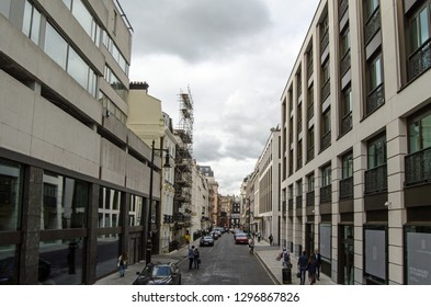 LONDON, UK - SEPTEMBER 14, 2018: View from Piccadilly along the fashionable Clarges Street in Mayfair.  Once home to Lady Hamilton and the actor Edmund Kean