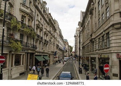 LONDON, UK - SEPTEMBER 14, 2018: View along the famous Jermyn Street in the St James's district of Westminster, London.  Noted for its many tailors and other gentlemen's outfitters.